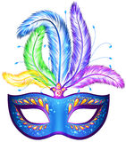 Vector venitian carnival mask with feathers. Vector blue ornate venitian carnival mask with feathers