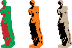 Vector venus color silhouette set stock illustration