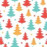 Vector verde, amarillo, modelo inconsútil dispersado rojo de las vacaciones de invierno de los árboles de navidad Grande para la  Foto de archivo libre de regalías