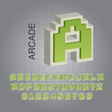 Vector verde de Arcade Alphabet y de los números Fotografía de archivo
