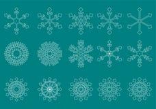 Vector verde del fondo de los copos de nieve blancos Imagen de archivo libre de regalías