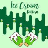 Vector verde del modelo del helado de la impresión ilustración del vector
