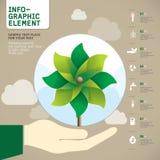 Vector verde del molinillo de viento a mano Fotos de archivo libres de regalías
