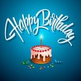 vector verjaardagscake met kaarsen Stock Afbeeldingen