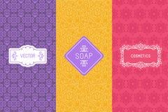 Vector verpakkende ontwerpelementen voor schoonheidsmiddelen Stock Fotografie