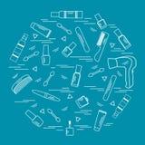 Vector verschiedenes Zubehör der Illustration für die Sorgfalt Ihres Verschlusspfropfens Lizenzfreie Stockbilder
