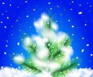 Vector versie in mijn portefeuille Pijnboomboom in de sneeuw Het landschap van Kerstmis stock illustratie