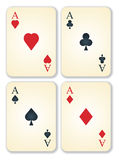 Vector version of old vintage aces cards. Vector version of old vintage aces playing cards Stock Photography