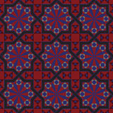 Vector version of seamless vintage editable tile pattern with geometrical and floral motifs. In black, red, brown, blue, colors. Can be used as mosaic wall Royalty Free Stock Image
