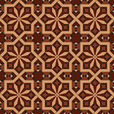 Vector version of seamless vintage editable tile pattern with geometrical and floral motifs. In warm red, brown, black, ocher colors. Can be used as mosaic wall Royalty Free Stock Image