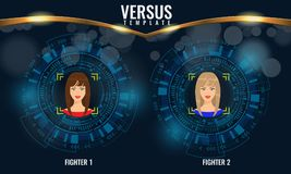 Vector Versus round circles with woman faces and techno hud background. Versus round circles with woman faces and techno hud background. Illustrated vector vector illustration