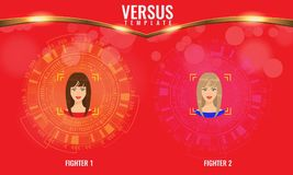Vector Versus round circles with woman faces and techno hud background. Versus round circles with woman faces and techno hud background. Illustrated vector stock illustration
