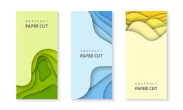 Vector Vertical 3 Flyers With Colorful Paper Cut Waves Shapes. 3D Abstract Paper Style, Design Layout For Business Presentations Royalty Free Stock Image