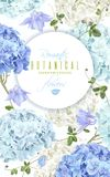 Hydrangea banner blue. Vector vertical banner with blue and white hydrangea flowers on white background. Floral design for cosmetics, perfume, beauty care stock illustration