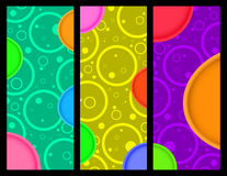 3 vector vertical banner with circles and circles with colored volume Royalty Free Stock Image