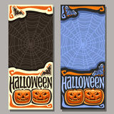 Vector vertical banner for Halloween. Holiday: 2 templates flyer with flying bat on Cobweb background for sale, art halloween pumpkin with scary face on blue vector illustration
