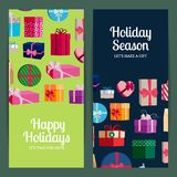 Vector vertical banner templates with gift boxes and place for text. Poster holiday season with colored gift box illustration Vector Illustration