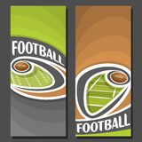 Vector vertical Banners for American Football. 2 layouts for title on american football theme, ball flying on curve above field, abstract art banner for text Royalty Free Stock Images