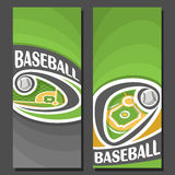 Vector vertical Banners for Baseball. 2 layouts for title on baseball theme, ball flying on curve trajectory above diamond base field, abstract banner for text Stock Image