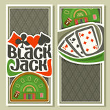 Vector vertical banners of Black Jack for text Royalty Free Stock Images