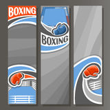 Vector Vertical Banners for Boxing. 3 cartoon template for title text on boxing theme, sports ring with rope for fight, blue simple gloves, abstract vertical Royalty Free Stock Photo