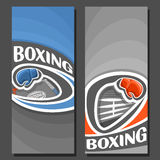 Vector vertical Banners for Boxing. 2 layouts for title text on boxing theme, red and blue gloves flying on curve trajectory, abstract banner for inscriptions Royalty Free Stock Photos