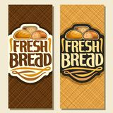 Vector vertical banners for Bread. Whole french wheat baguette, sliced half of cereal loaf and homemade cut rye bread, original brush typeface for title text vector illustration