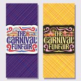 Vector vertical banners for Carnival Funfair. Tickets with circus big top, vintage merry go round carrousel and ferris wheel in day and evening, original brush Royalty Free Stock Image