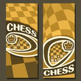 Vector vertical banners for Chess. Game with copy space, in layouts yellow & brown curved checkerboard squares for title on chess theme, original font for word royalty free illustration