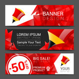 Vector vertical banners collection with abstract multicolored polygonal crystal Royalty Free Stock Images
