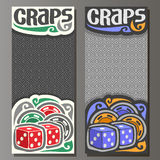 Vector vertical banners for Craps gamble. 2 red cubes, heap of colorful chips on grey geometric background, on card for casino title text - craps, pair blue stock illustration