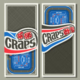Vector vertical banners for Craps gamble. Thrown pair red cube dices flying on blue craps table, lettering title - craps, layouts with frame on abstract grey Stock Images