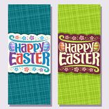 Vector vertical banners for Easter holiday. Original handwritten brush typeface for text happy easter, in layouts invitation abstract flowers and striped Royalty Free Stock Photo