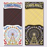 Vector vertical banners for Ferris Wheel. Fairground ride attraction on day and night sky background, original brush typeface for words ferris wheel, vintage Royalty Free Stock Images