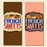 Vector vertical banners for French Sweets. Cover menu for confectionery cafe with original brush typeface for words french sweets, fresh croissant, choux Royalty Free Stock Photos