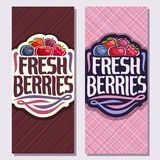Vector vertical banners for Fresh Berries. Heap of strawberry, red gooseberry, healthy blueberry, cherry berry, ripe raspberry on geometric background, veg mix Royalty Free Stock Image