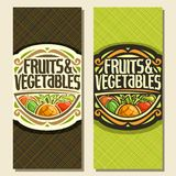 Vector vertical banners for Fruits and Vegetables. Decorative handwritten script for title text fruits & vegetables, vintage round frame with pineapple and set Royalty Free Stock Photos