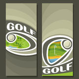Vector vertical Banners for Golf Course. 2 layouts for title on golf theme, ball flying on curve trajectory above golf course, abstract template banner for vector illustration