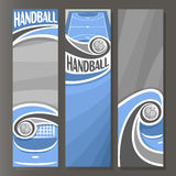Vector Vertical Banners for Handball. 3 cartoon template for title text on handball theme, blue sports court with flying in goal gate ball, abstract vertical Royalty Free Stock Photos