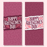 Vector vertical banners for Happy Valentine`s Day Royalty Free Stock Photo