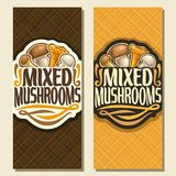 Vector vertical banners for Mushrooms. Cut sign with edible honey agaric, wild porcini mushroom, forest chanterelle, fresh champignon, veg mix label with text Royalty Free Stock Image