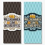 Vector vertical banners for Oktoberfest. With copy space, maple leaf and pretzel, glassware with alcoholic beverages, invite for beer festival with original Stock Photos