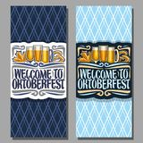 Vector vertical banners for Oktoberfest. With copy space, maple leaf and pretzel, glassware with alcoholic beverages, tickets for beer festival with original Royalty Free Stock Image