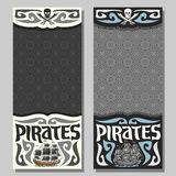 Vector vertical banners for Pirate theme Stock Images