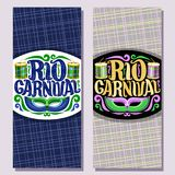 Vector vertical banners for Rio Carnival. Invite tickets with brazilian mask, original font for text rio carnival, drums with sticks for samba parade, layouts Royalty Free Stock Image