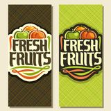 Vector vertical banners for set Fresh Fruits. Juicy orange, green apple, sweet peach, decorative fruit logo, sign with original type font for text fresh fruits Royalty Free Stock Image