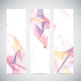 Vector vertical banners set with polygonal Stock Photo