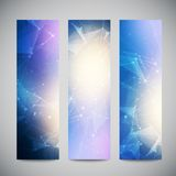 Vector vertical banners set with polygonal Royalty Free Stock Images