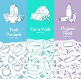 Vector vertical banners with sketched dairy goods. Vector vertical banners or posters with sketched dairy goods and place for text illustration Stock Photos