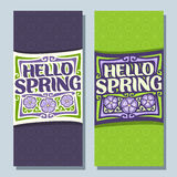 Vector vertical banners for Spring season. 2 layouts with green background, templates with lettering title in frame - hello spring, springtime flyers with 3 Royalty Free Stock Photography